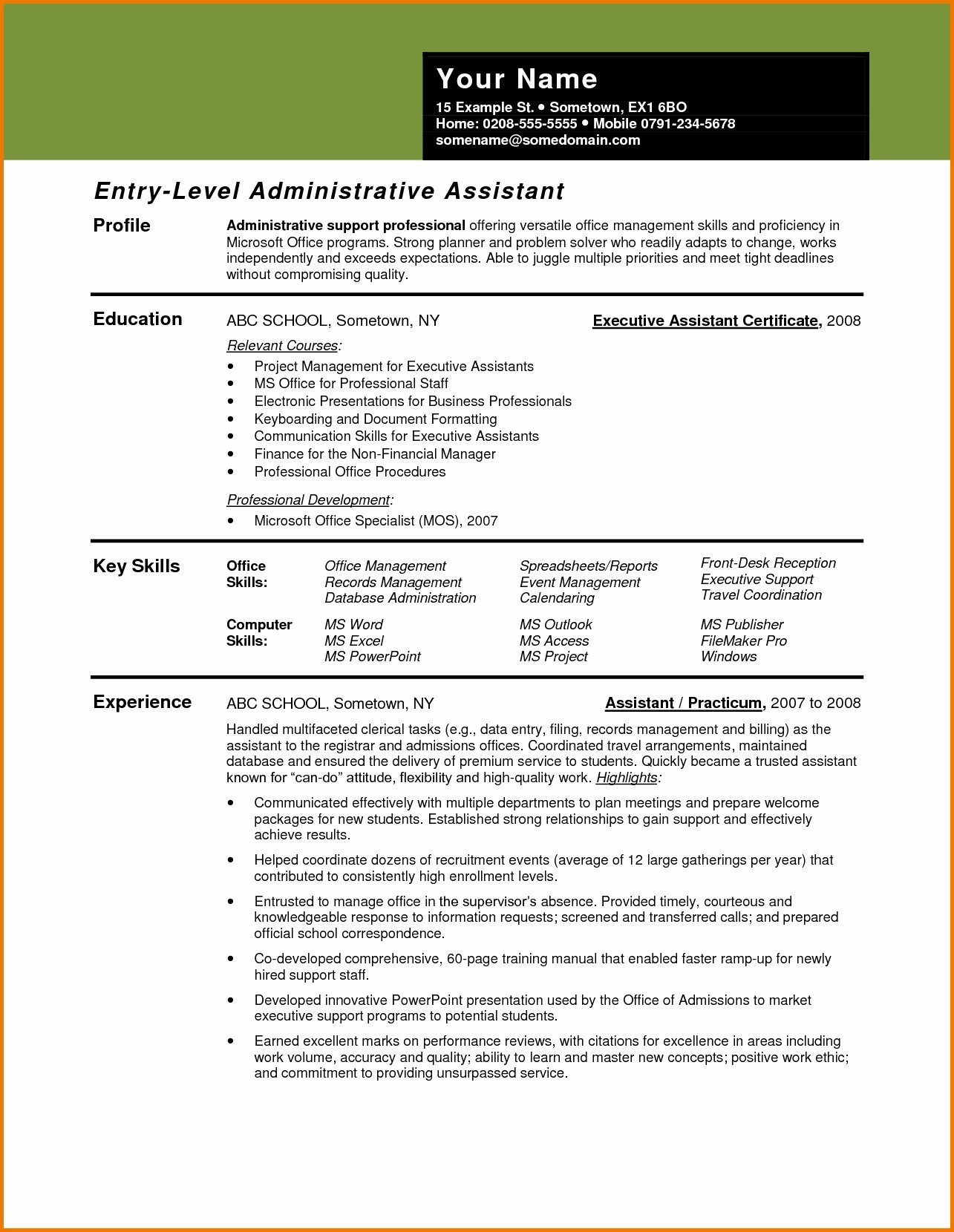 Hr Skills for Resume - Hr assistant Resume Beautiful Resume Template Executive assistant