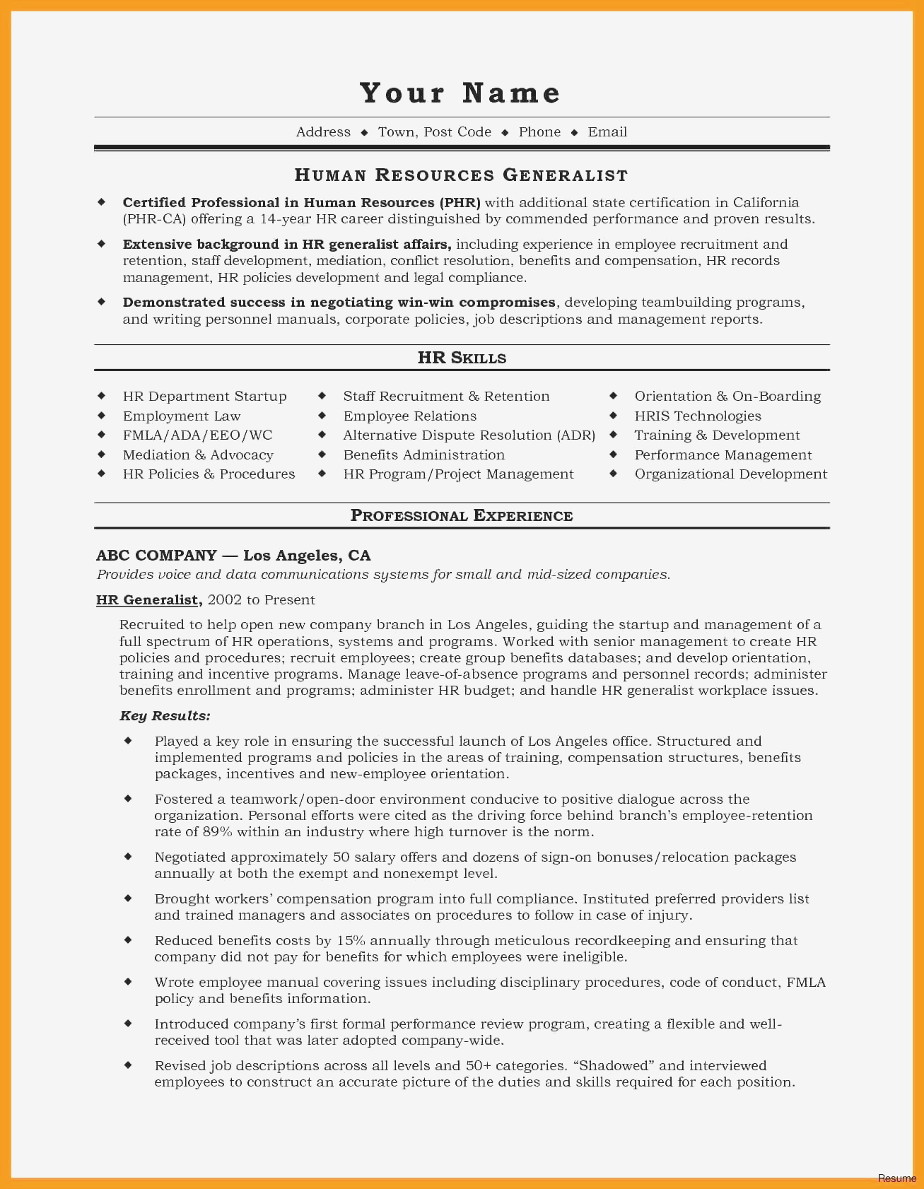 hr skills for resume example-Resume Experience Example Fresh Resume for It Job Unique Best Examples Resumes Ecologist Resume 0d 19-n