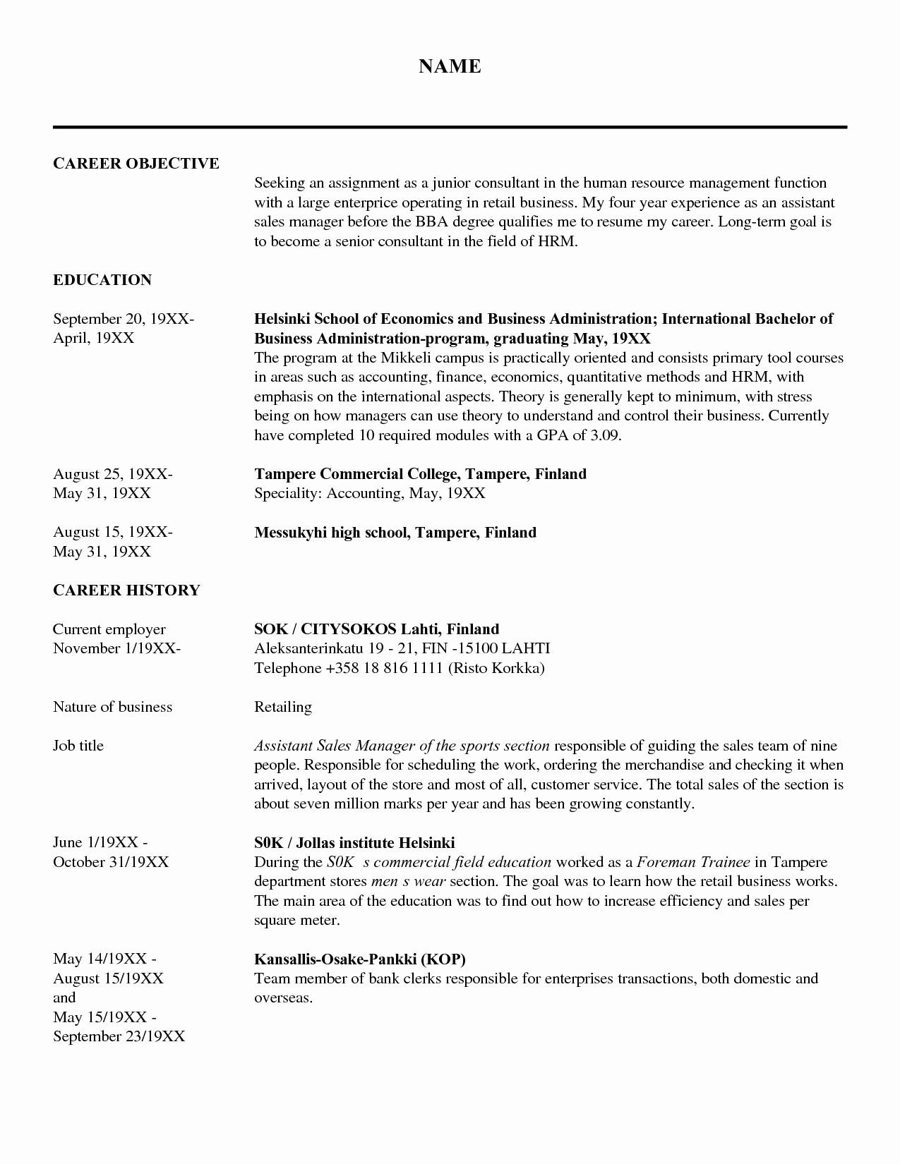 Human Resource Resume Template - Fresh Human Resources Resume Examples
