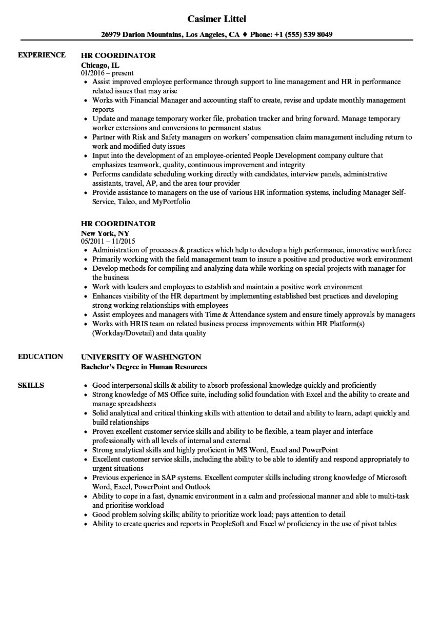 Human Resources Coordinator Resume - Human Resources Resume Good Examples Resumes Beautiful Student