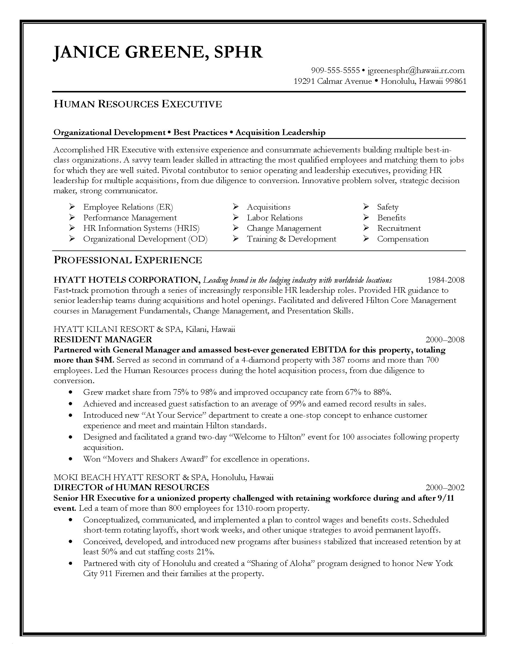 Human Resources Manager Resume - 49 Inspirational Manager Resume Sample