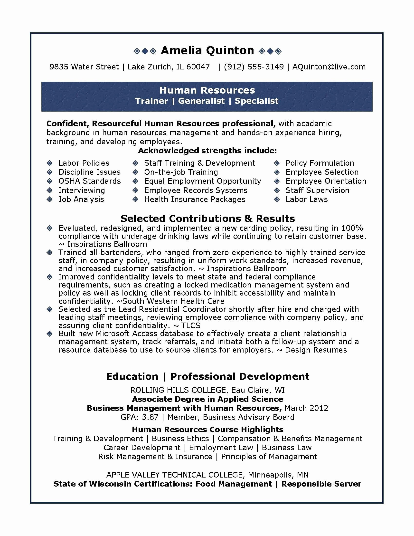 Human Resources Manager Resume - Human Resource Generalist Resume Lovely Examples Hr Resumes