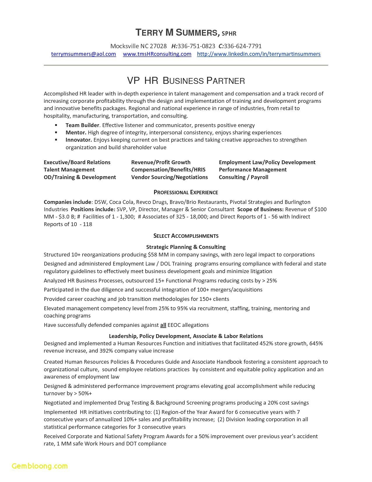 Human Resources Manager Resume Template - Resume for Human Resources Director Reference Human Resources
