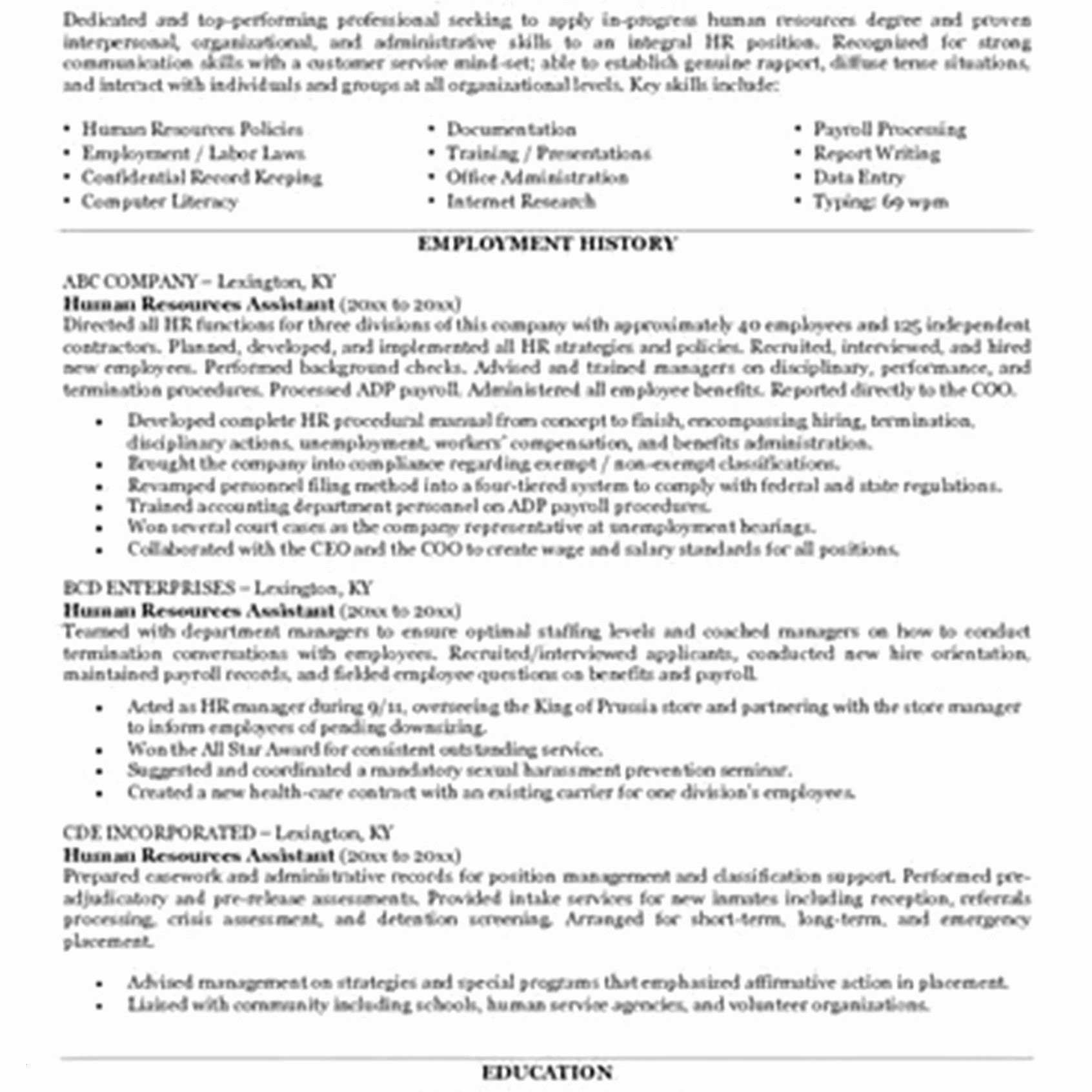 Human Resources Resume Summary - Hr assistant Resume Sample