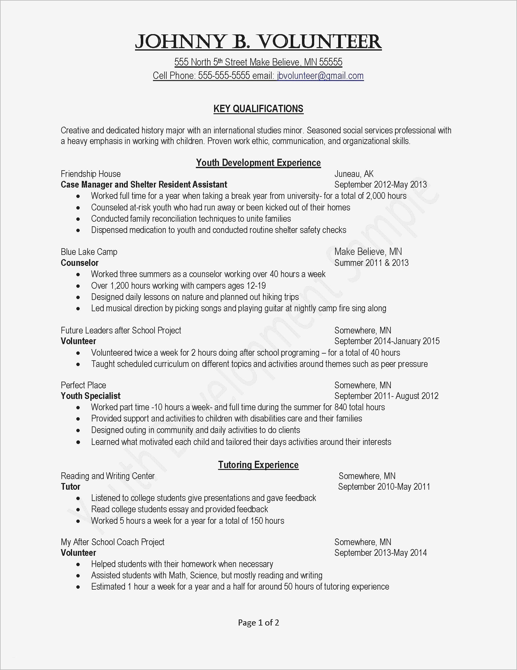 Human Services Resume Template - Template for Cover Letter and Resume Fresh Activities Resume