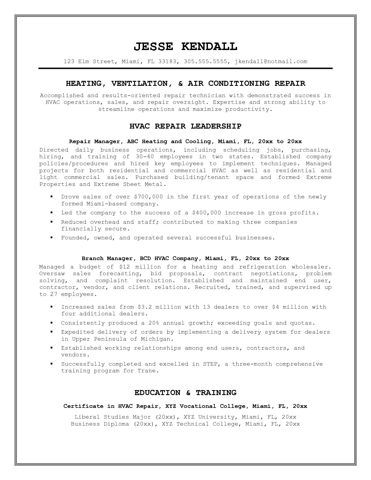 Hvac Resume Examples - Hvac Technician Resume Unique Resume Templates Refrigeration