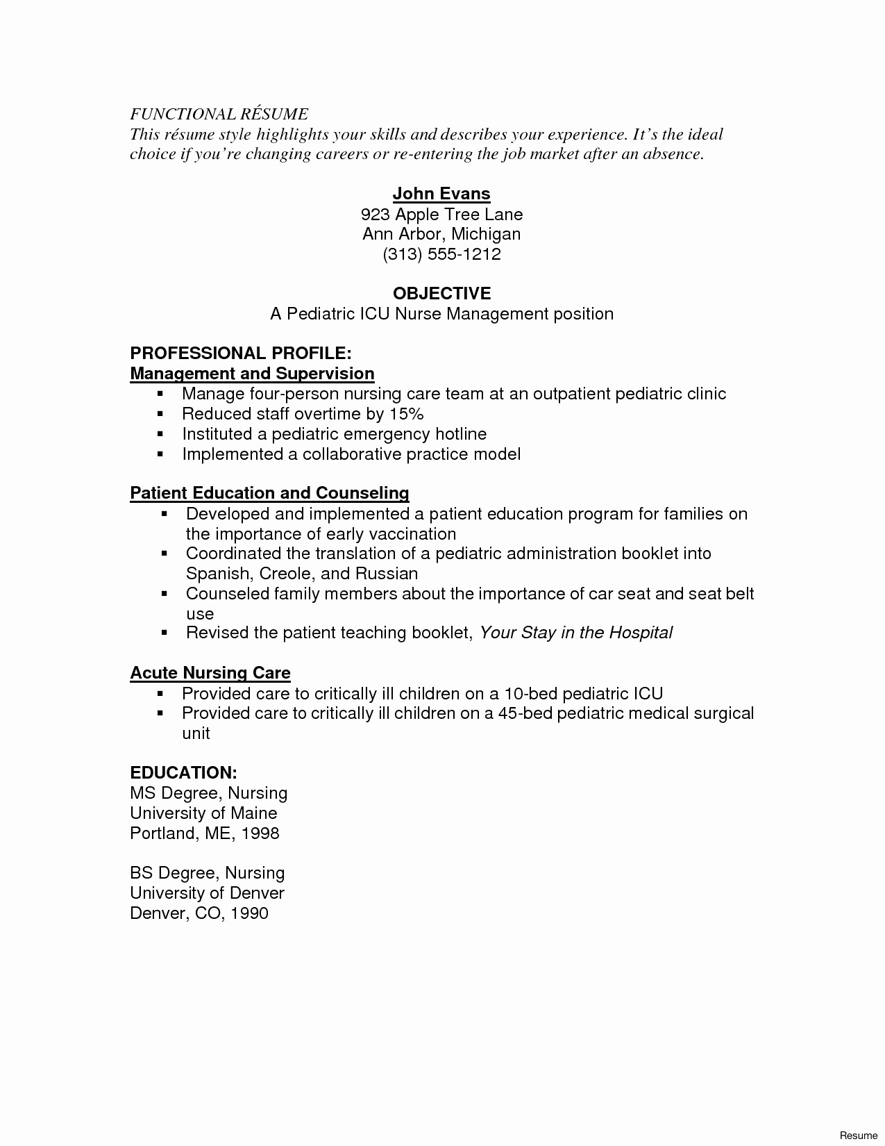 Icu Nurse Resume Template - 24 Telemetry Nurse Resume