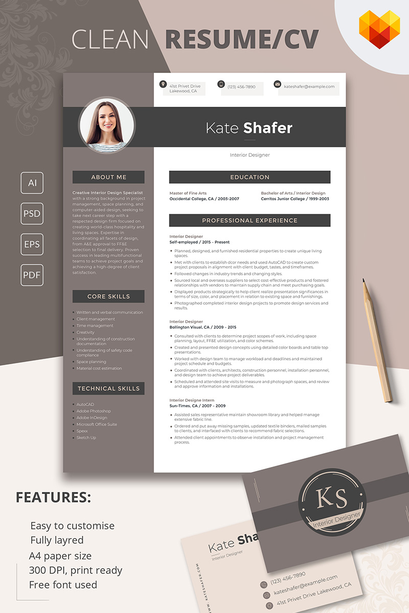 Interior Design Resume Examples - Kate Shafer Interior Designer Resume Template