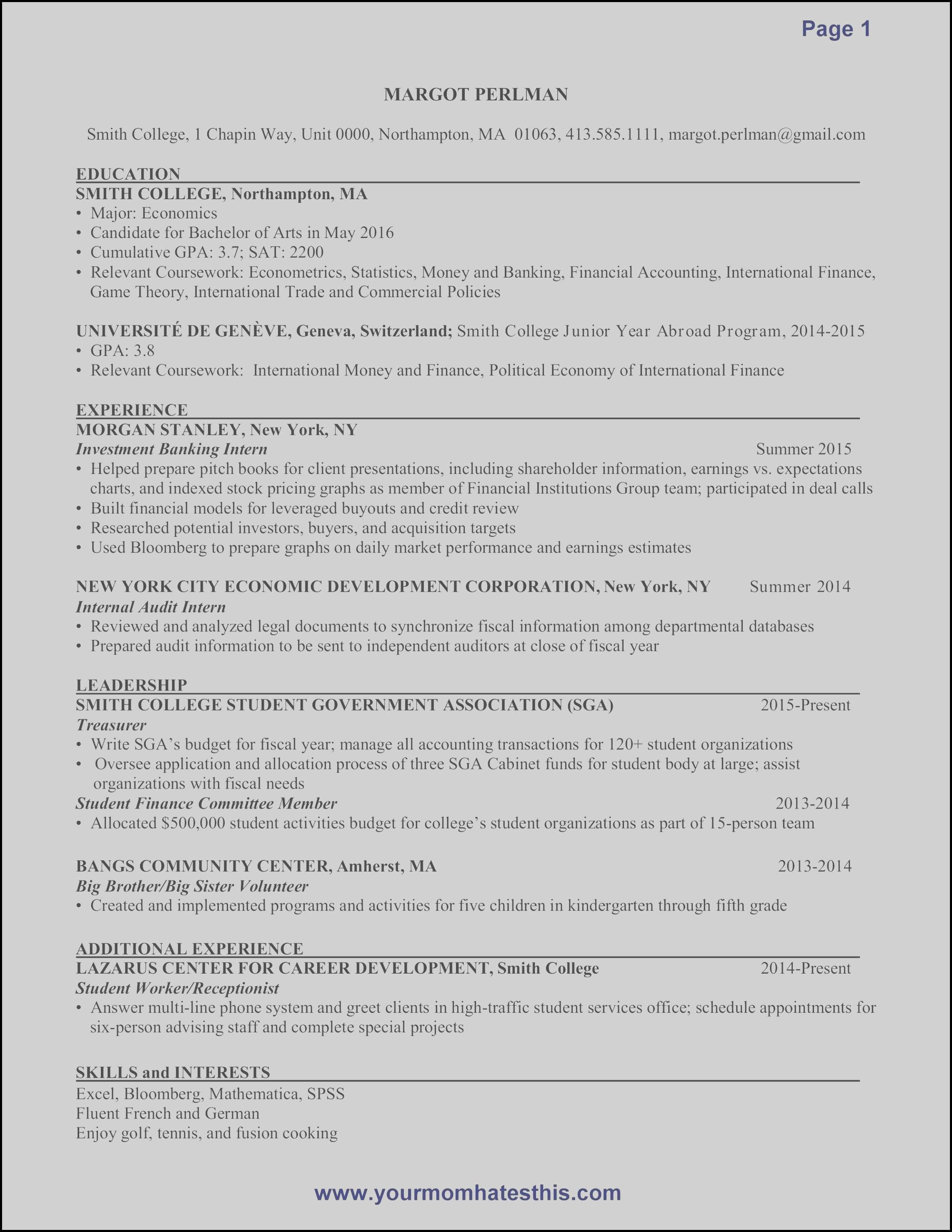 Investment Banking Resume Sample - Investment Banking Resume Luxury 11 Awesome S Investment Banking