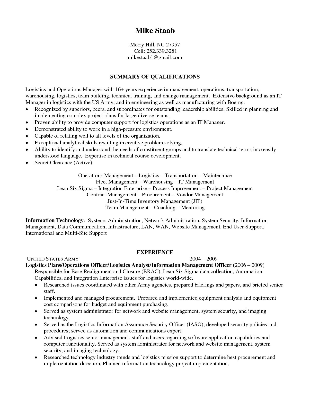 It Project Manager Resume - 16 Sample Project Manager Resume