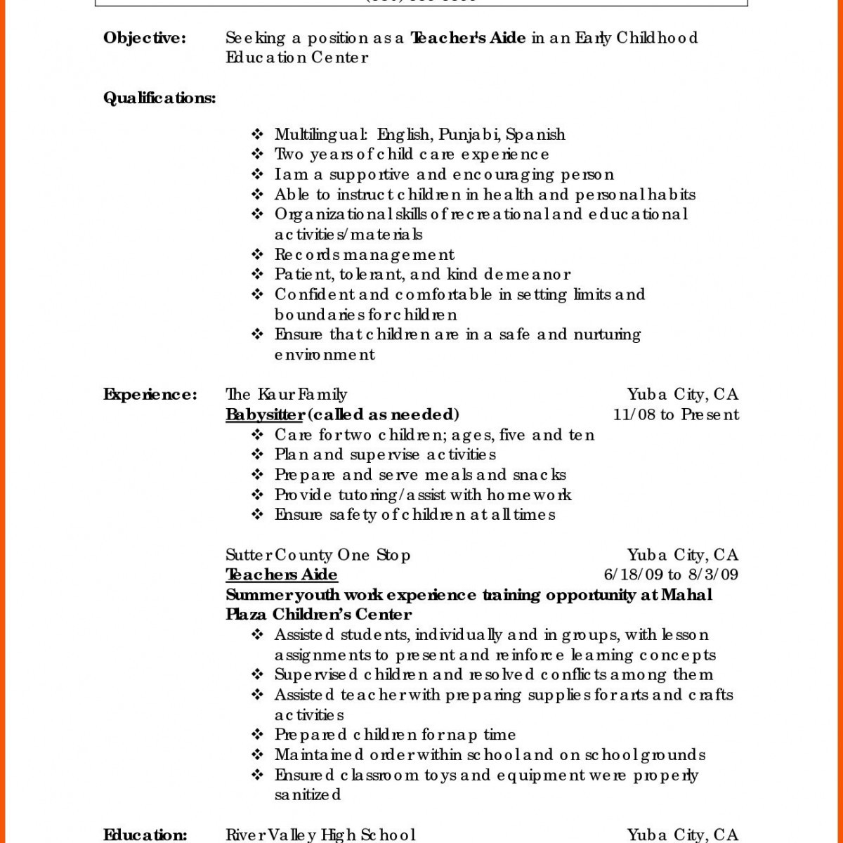 Job Description for Resume - Babysitter Job Description Resume Best New Resume Tutor Unique