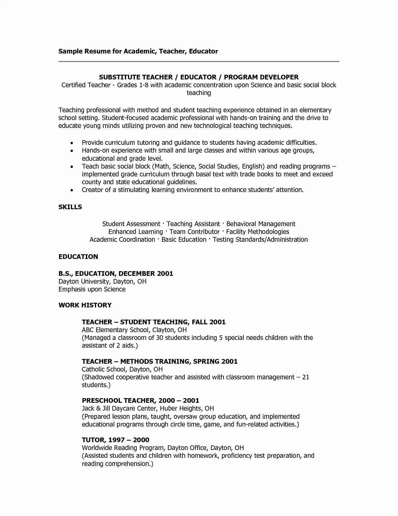 landscaping skills resume Collection-Gallery of preschool teacher skills resume 17-t