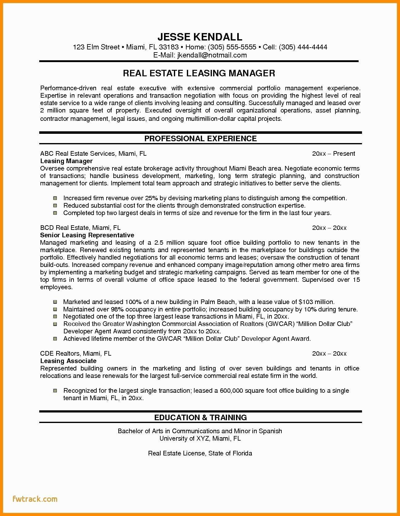 Leasing Consultant Resume - Property Manager Cover Letter Fwtrack Fwtrack