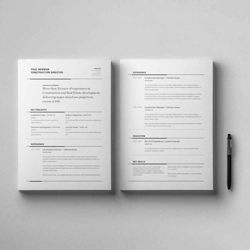 Leeds Resume Template - Business V15 2 Page Cv Template Cover Letter