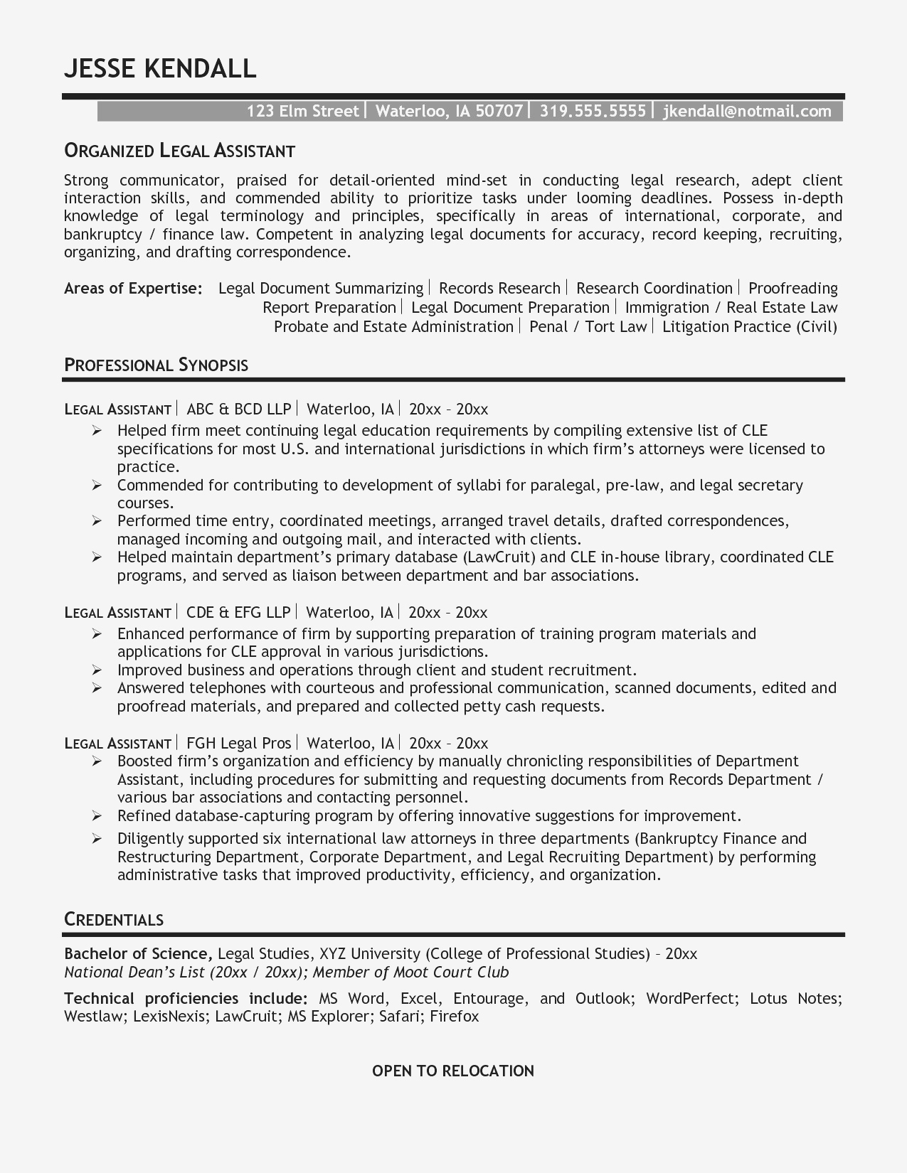 Legal assistant Resume Template - Real Estate Administration Sample Resume