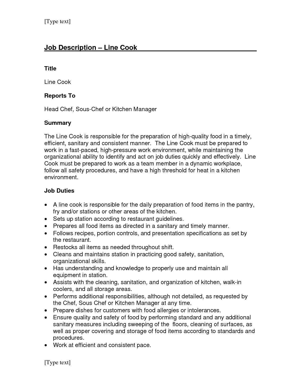 Line Cook Job Description for Resume - Chef Job Description Resume