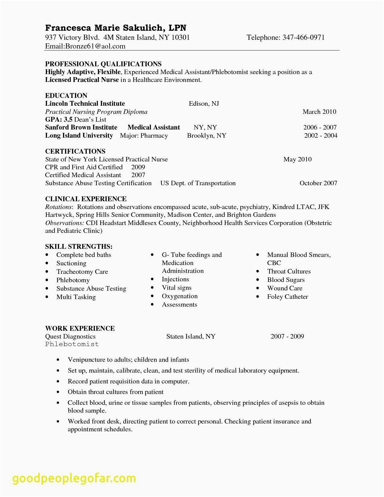 List Of Nursing Skills for Resume - 17 Fresh Nurse Resume Skills