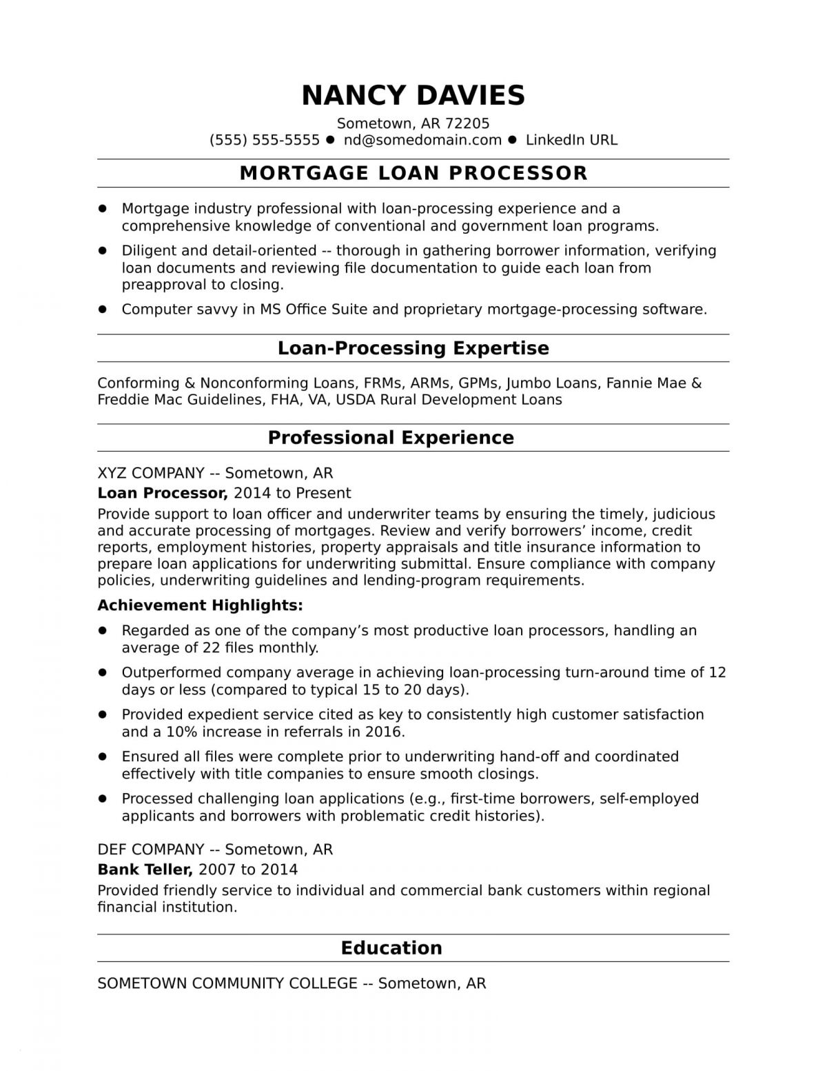 Loan Processor Resume - Loan Processor Resume Example Paragraphrewriter