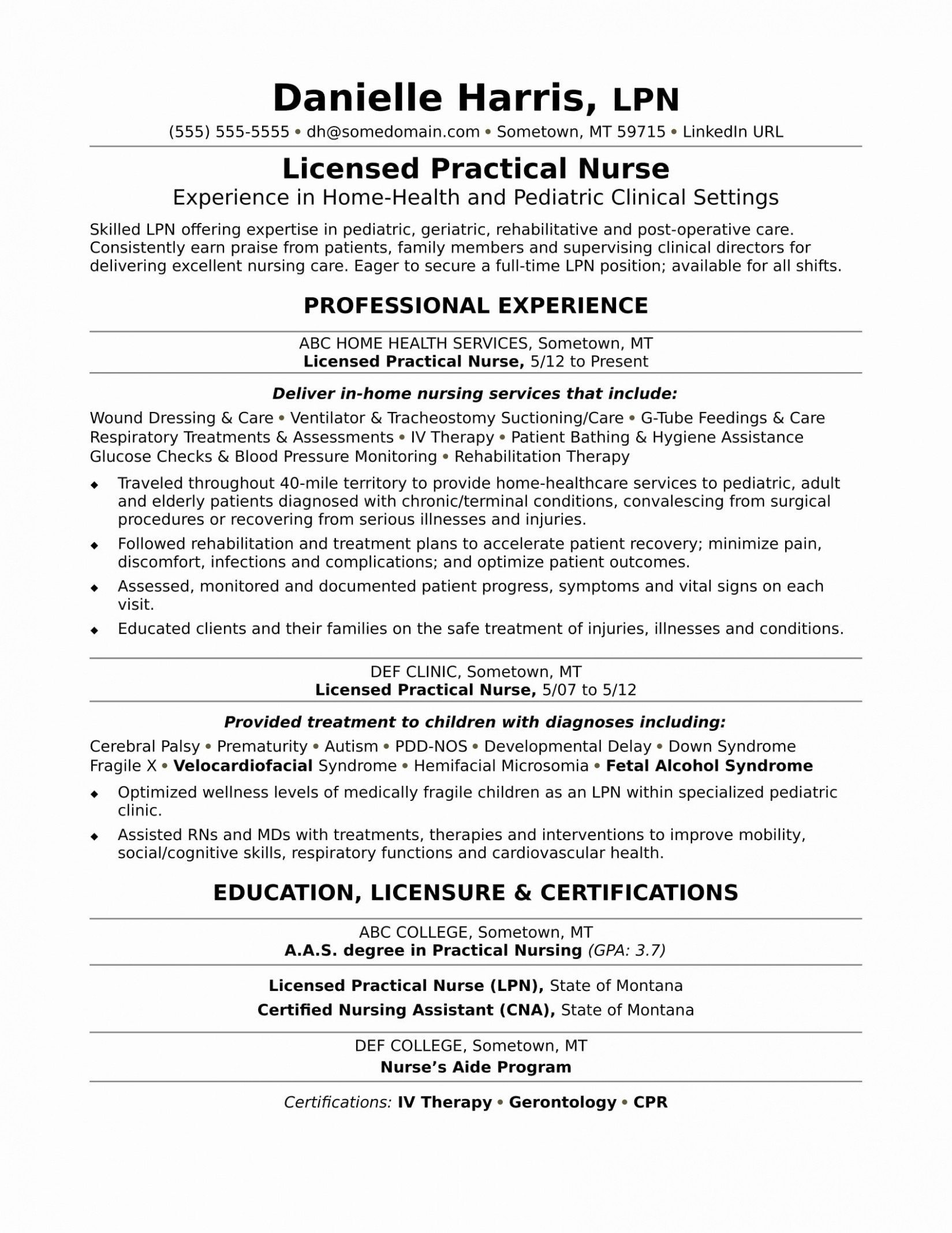 Lpn Nursing Resume Template - Unique Licensed Practical Nurse Lpn Resume Sample Resume Ideas