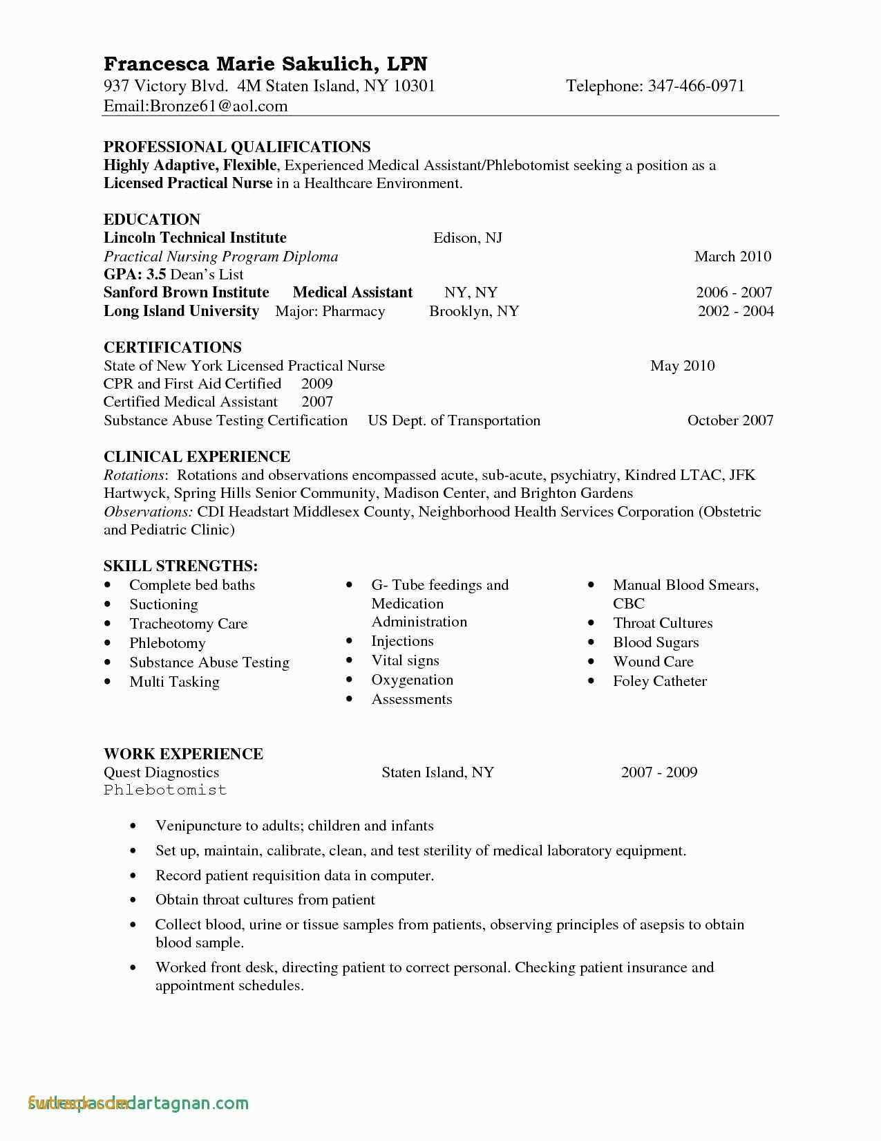Lvn Skills for Resume - Nurse Resume Template Fwtrack Fwtrack