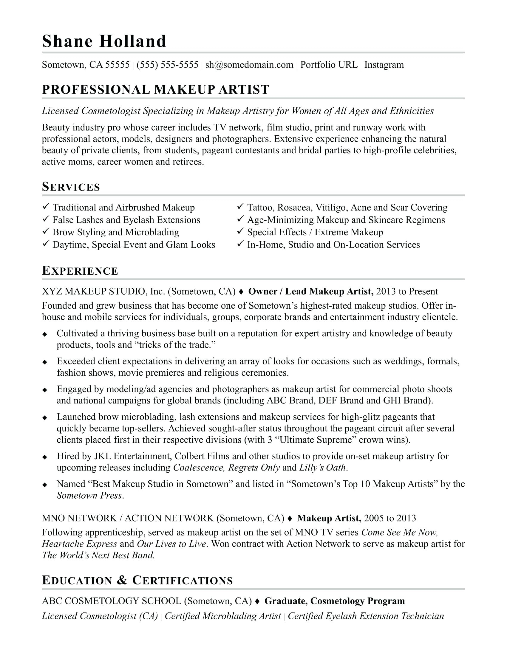 Makeup Artist Resume Template - Makeup Artist Resume Sample Mac Objective Job Freelance Skills