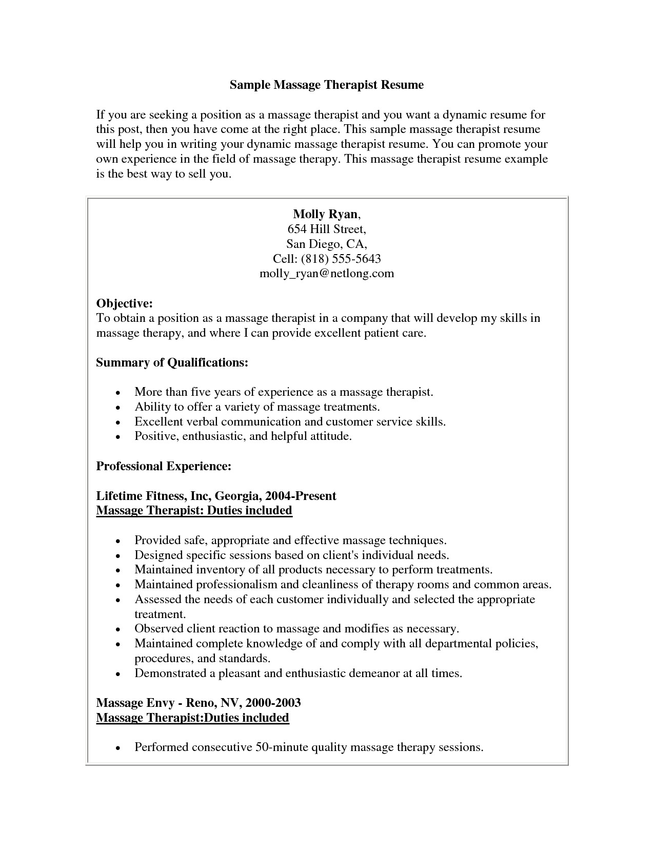 Massage Resume Template - Massage therapist Resume Example Elegant Massage therapist Resume