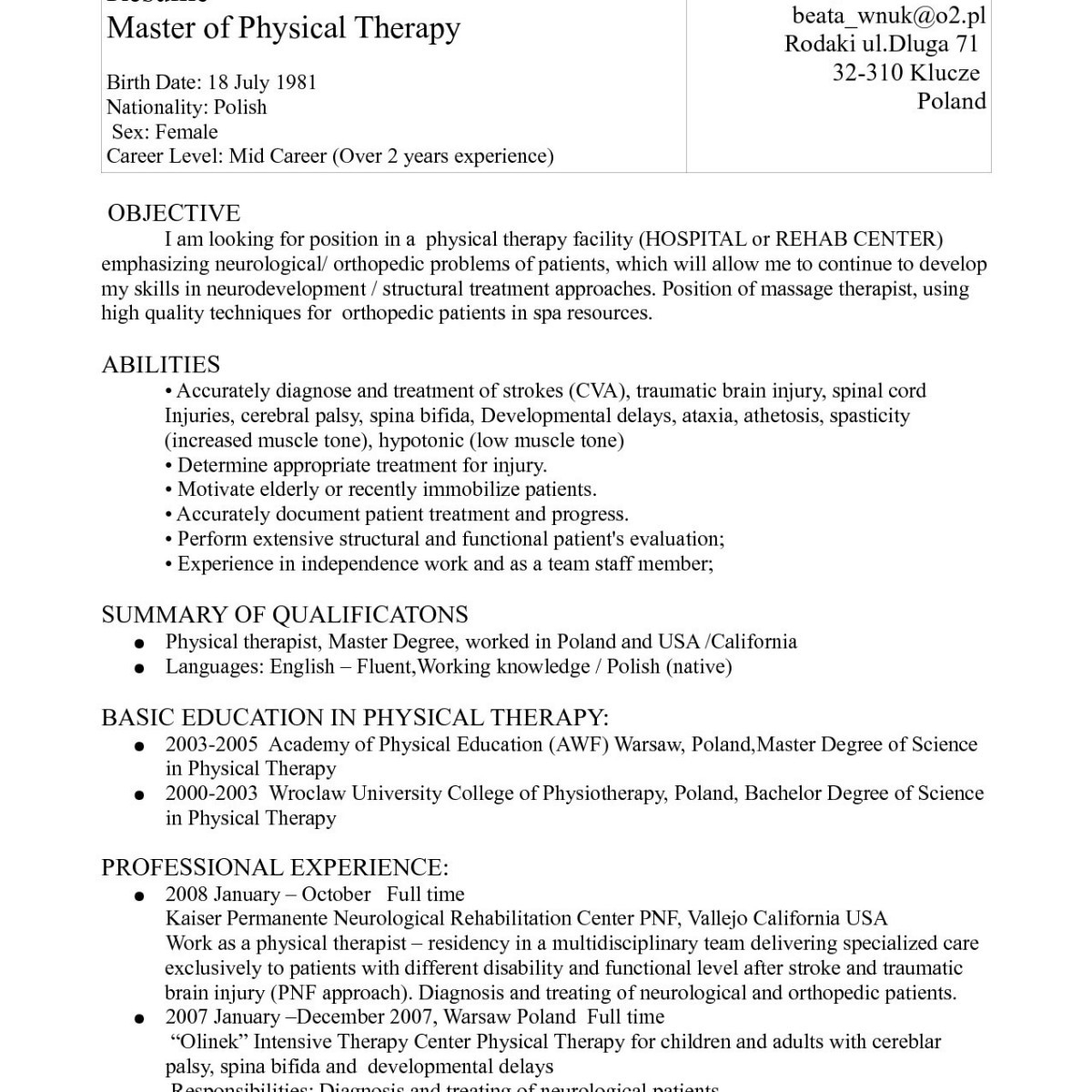 Massage therapy Resume Template - Sample Physical therapy Resume Unique Massage therapist Functional