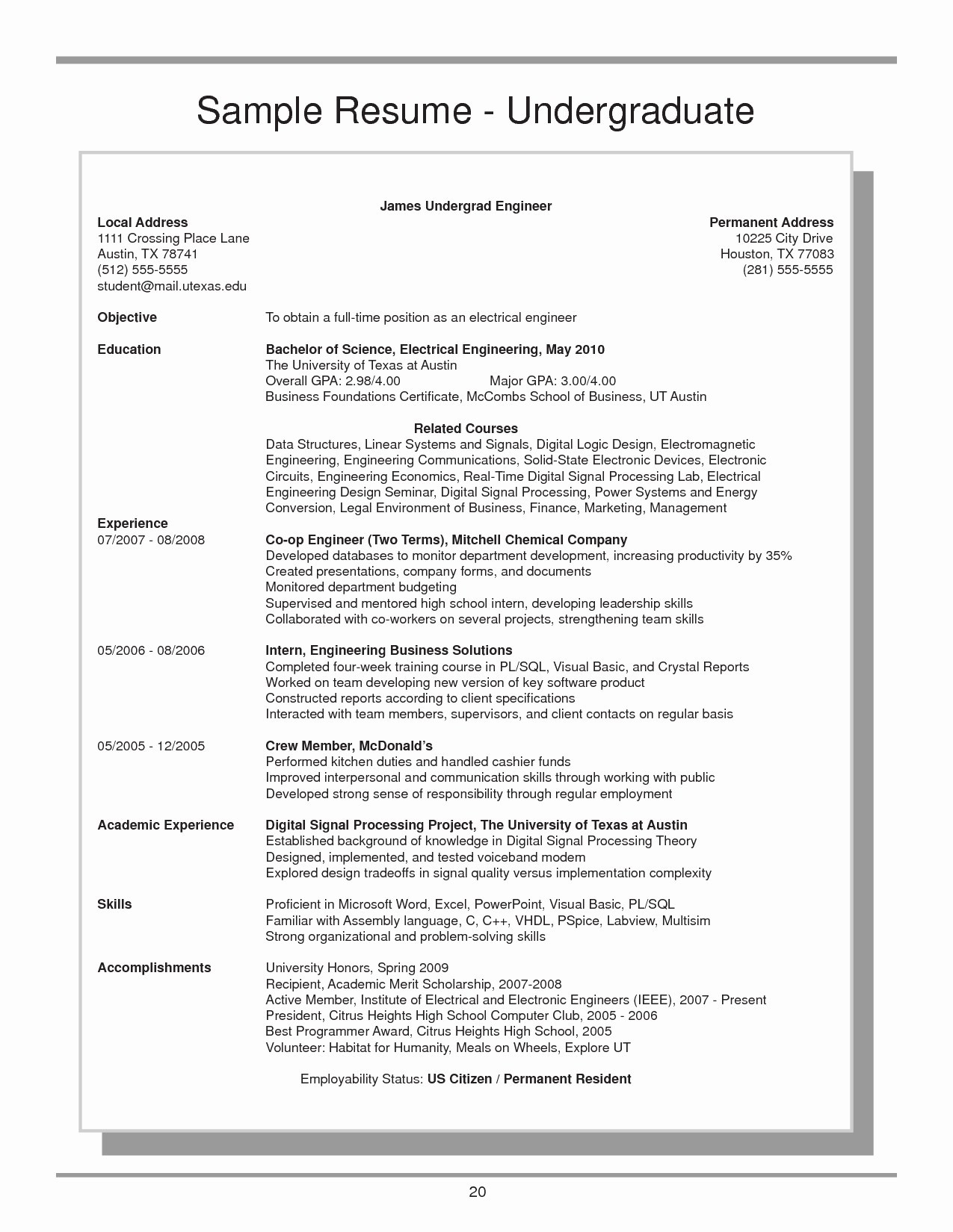 Mccombs Resume Template - Spanish Resume Template