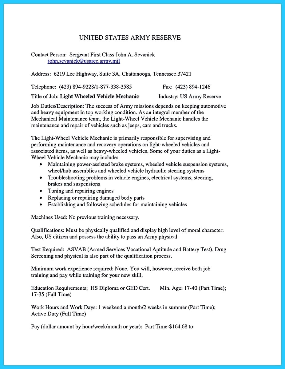 Mechanic Resume Example - 45 Unbelievable Nursing Resume Examples