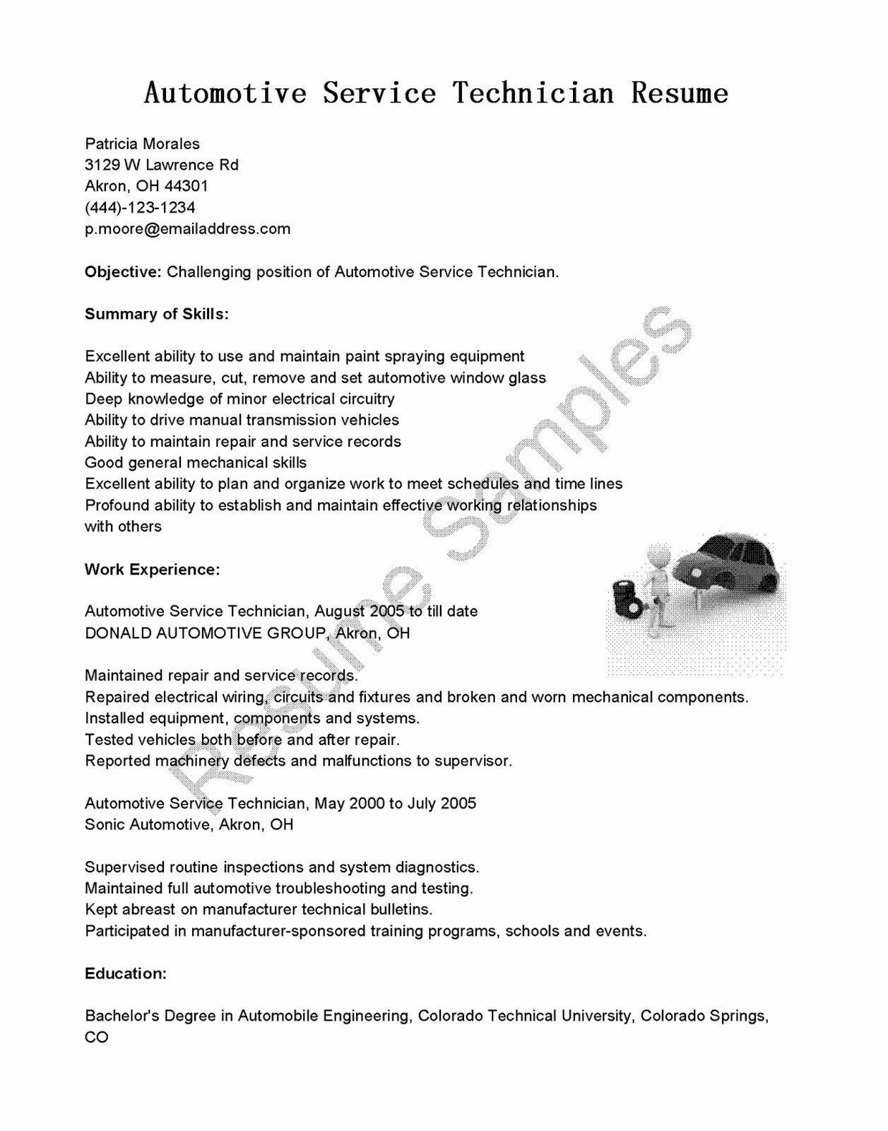 Mechanic Resume Example - Master Technician Resume Lovely Surgical Tech Resume Best