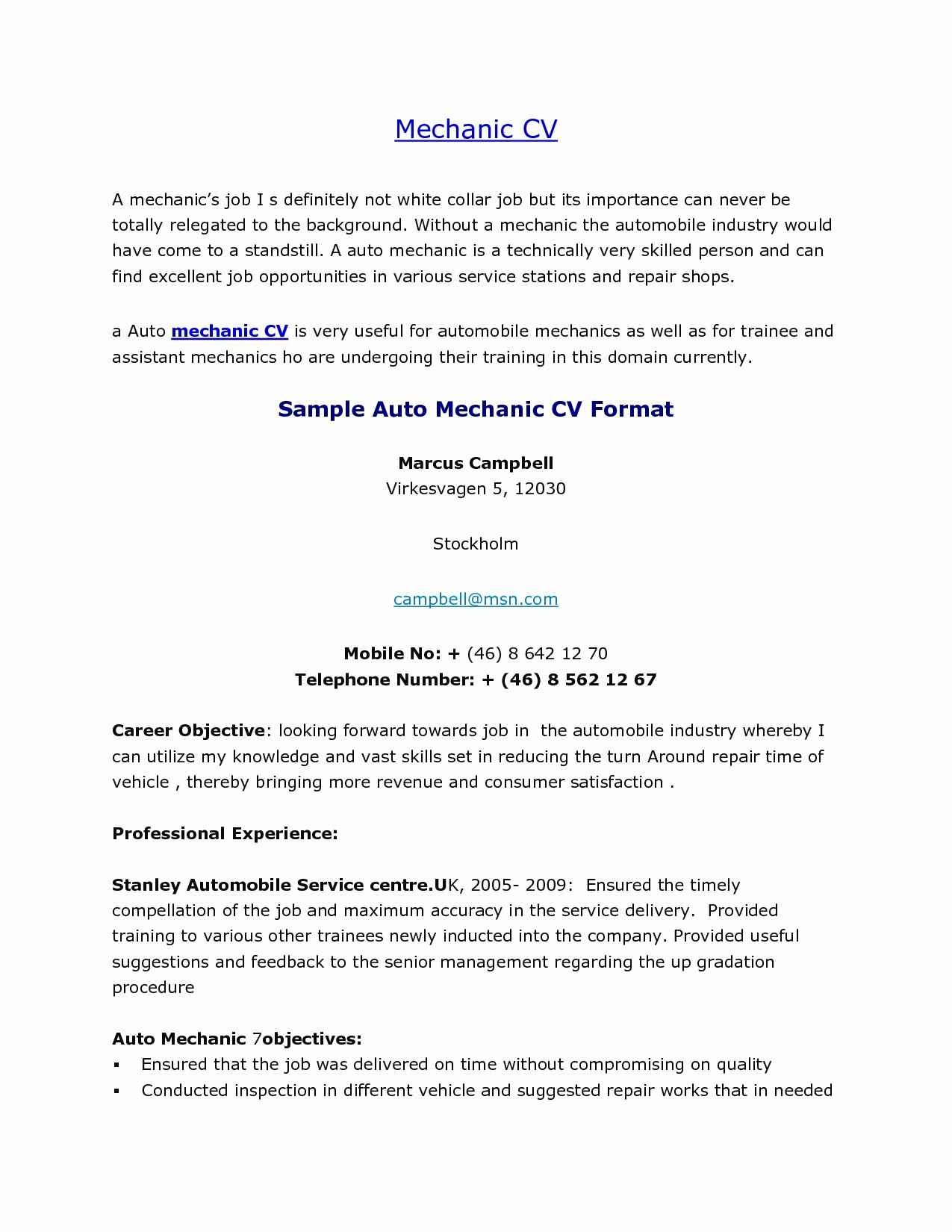 Mechanic Resume Sample - Student Resume Samples Lovely Elegant American Resume Sample New