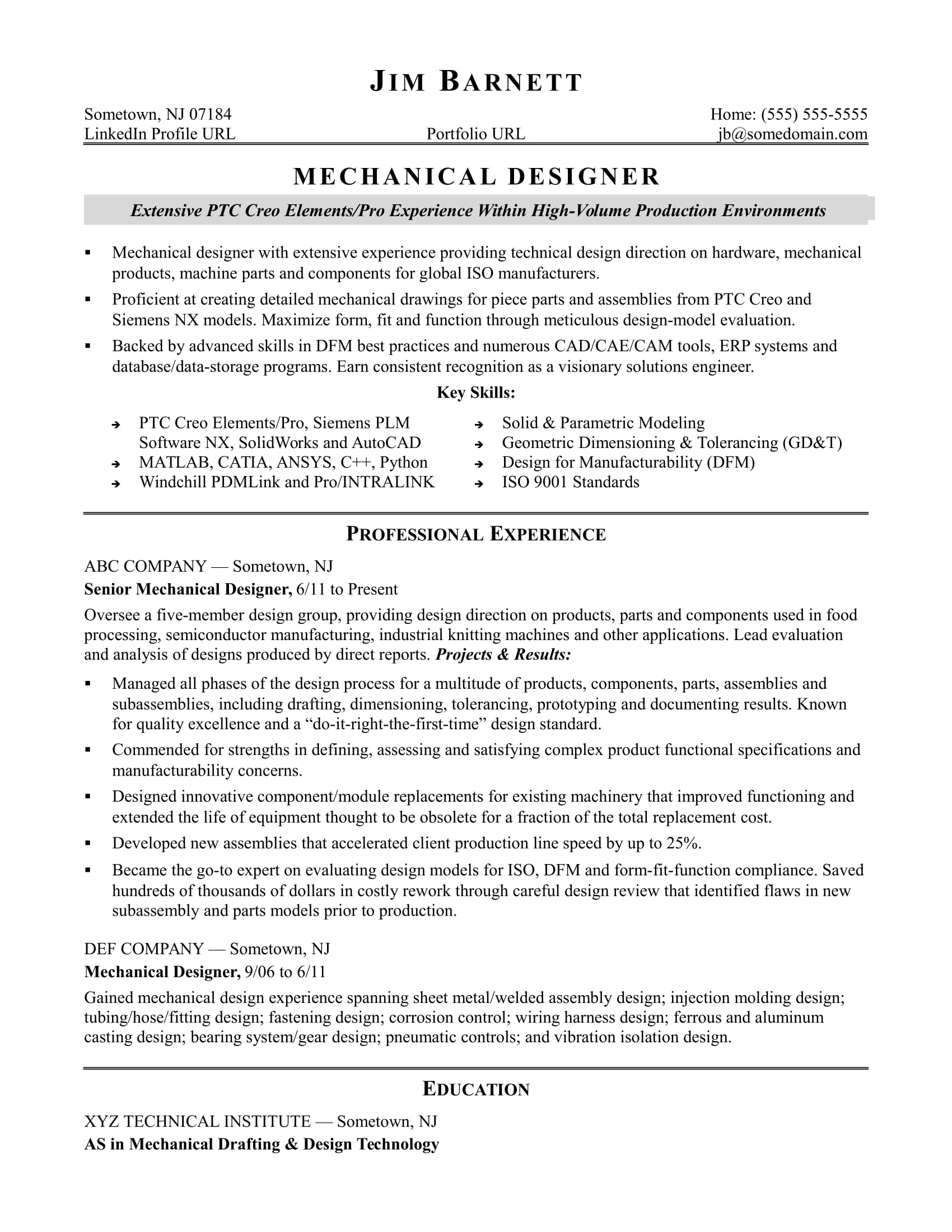 Mechanical Engineering Resume Templates - Sample Resume for An Experienced Mechanical Designer
