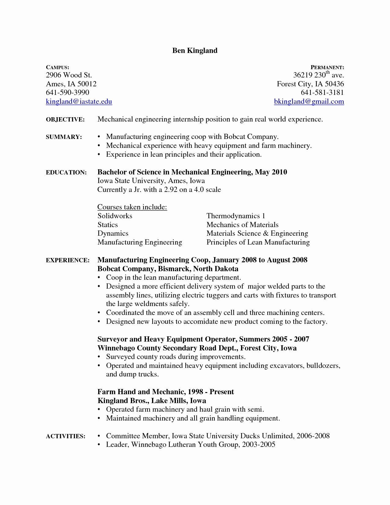 Mechanical Engineering Resume Templates - 11 Design Engineer Resume Ideas