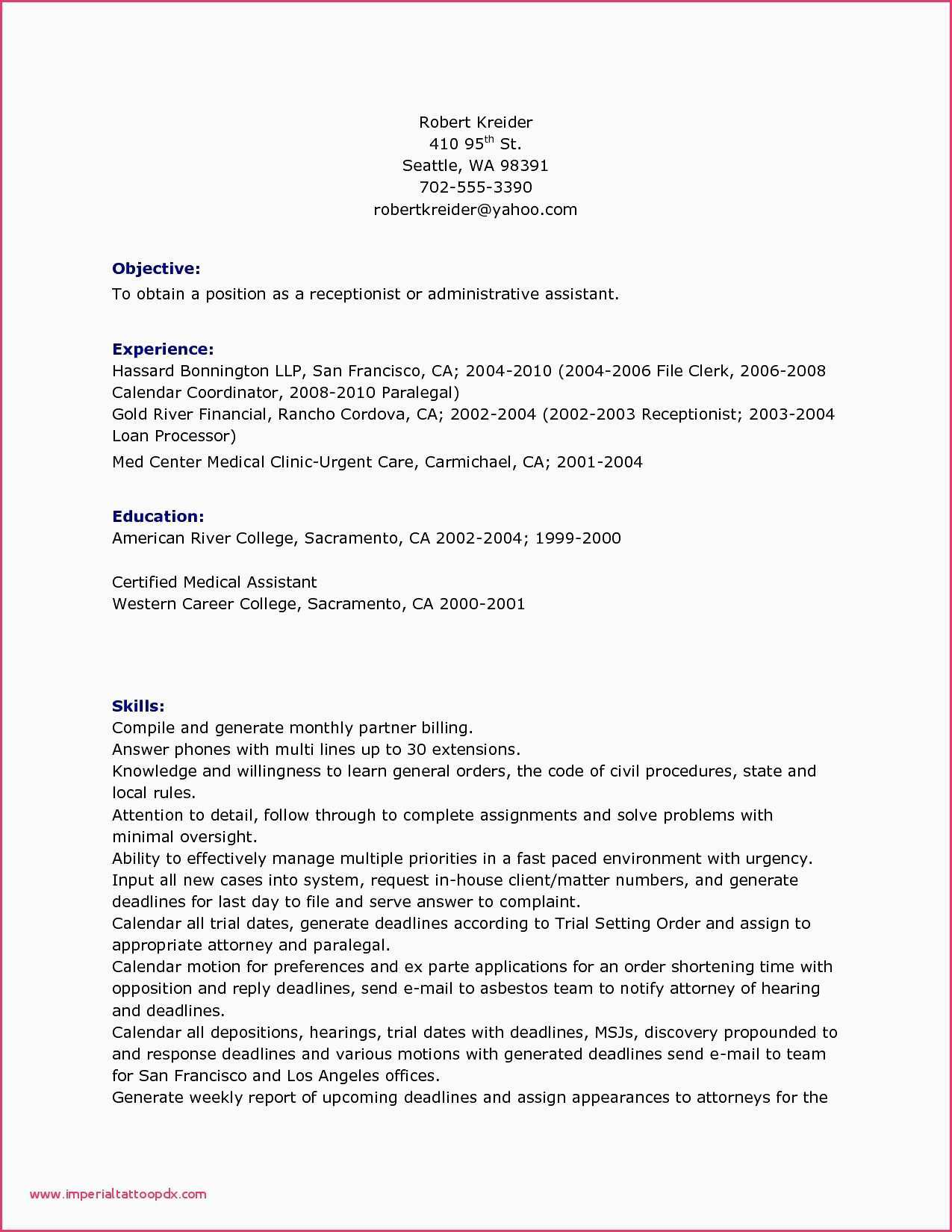 Medical assistant Resume with No Experience - Medical Receptionist Resume Sample No Experience 30 Great