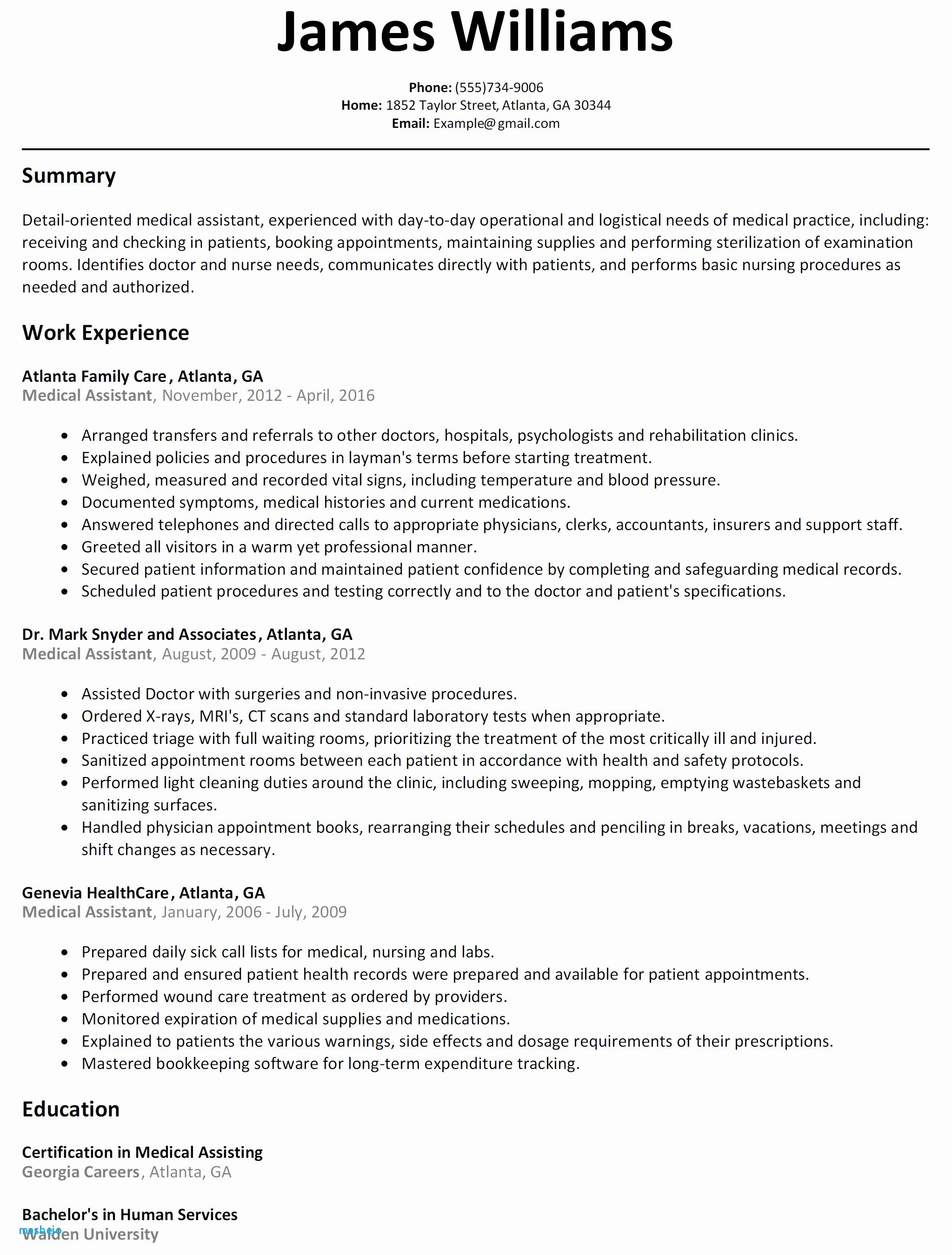 Medical assistant Summary Resume - Free Certified Medical assistant Resume Samples Resume Resume