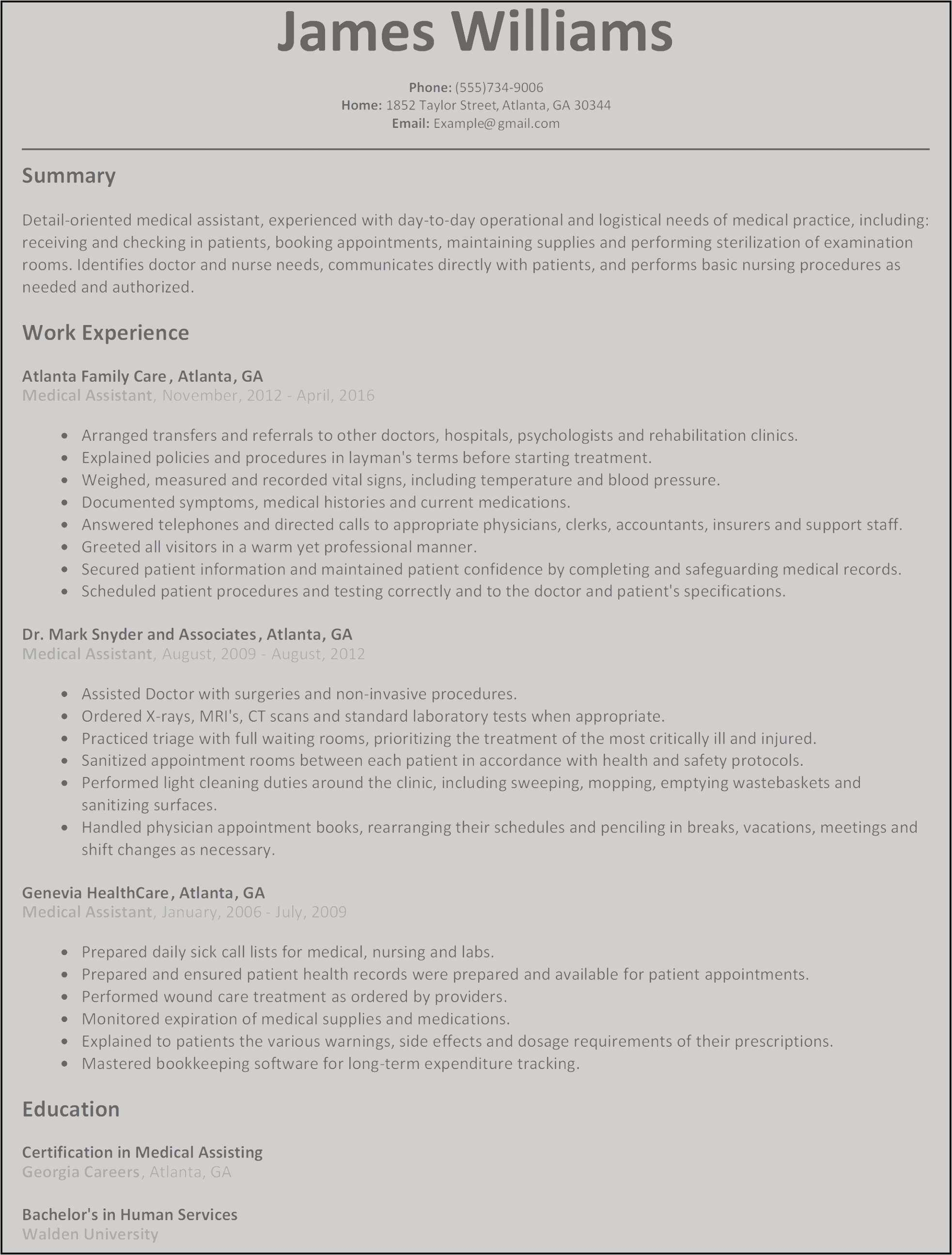 Medical assistant Summary Resume - 29 New Practice Resume format