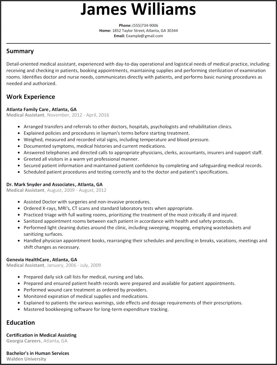 Medical assistant Summary Resume - 50 Concepts Resume Examples for Medical assistant