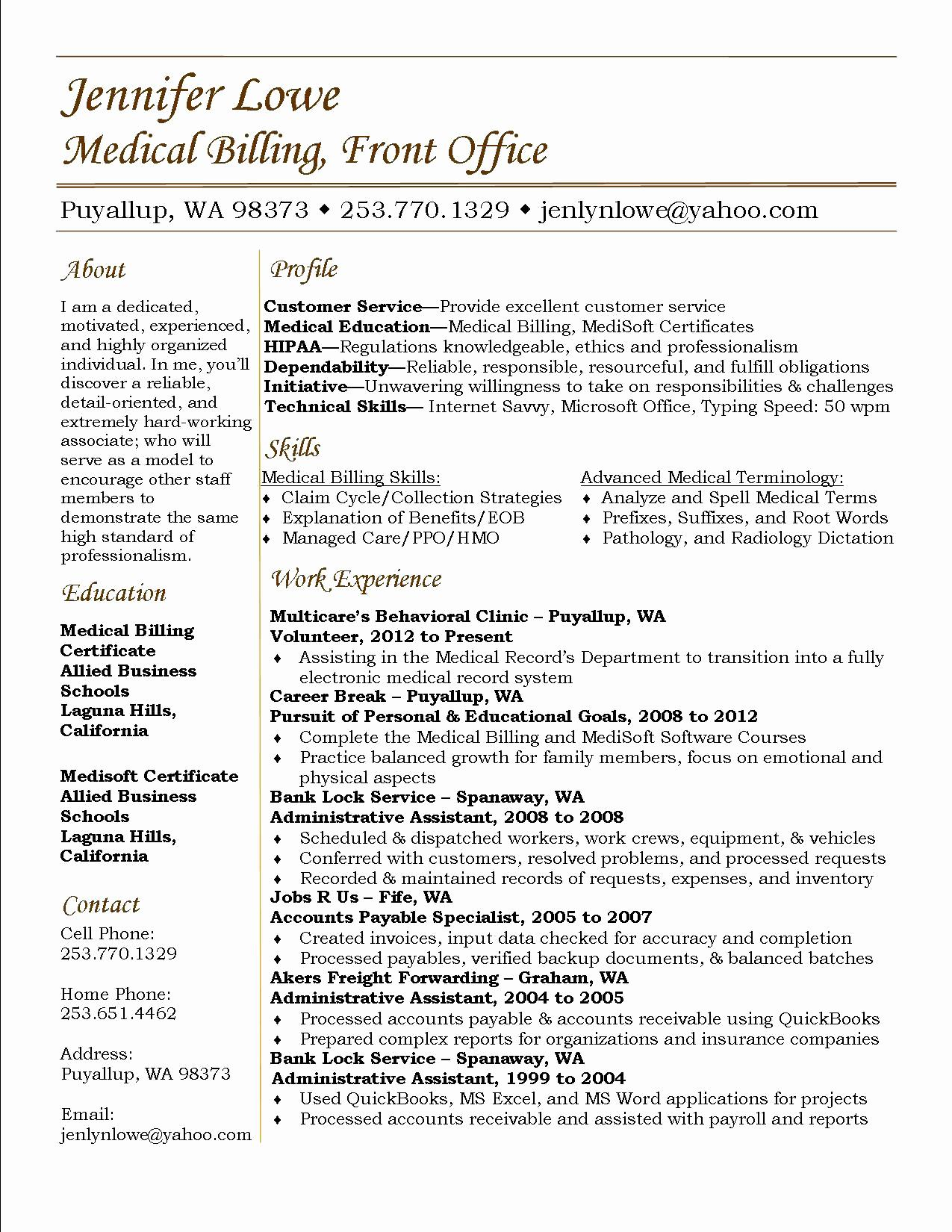 Medical Biller Resume Template - Medical Coding Resume Samples Unique Charming Ideas Medical Coder
