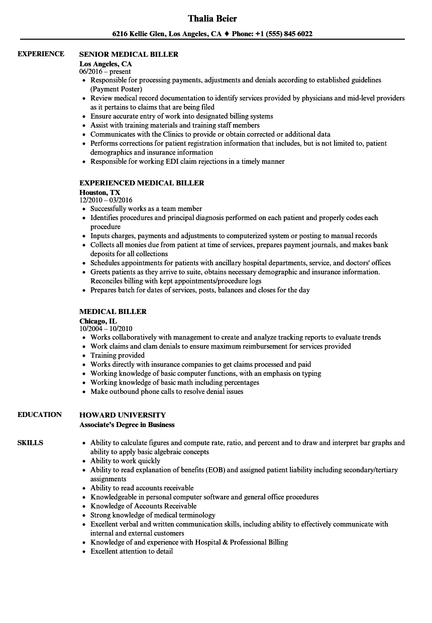 Medical Biller Resume Template - Medical Billing Resume Examples Hirnsturm