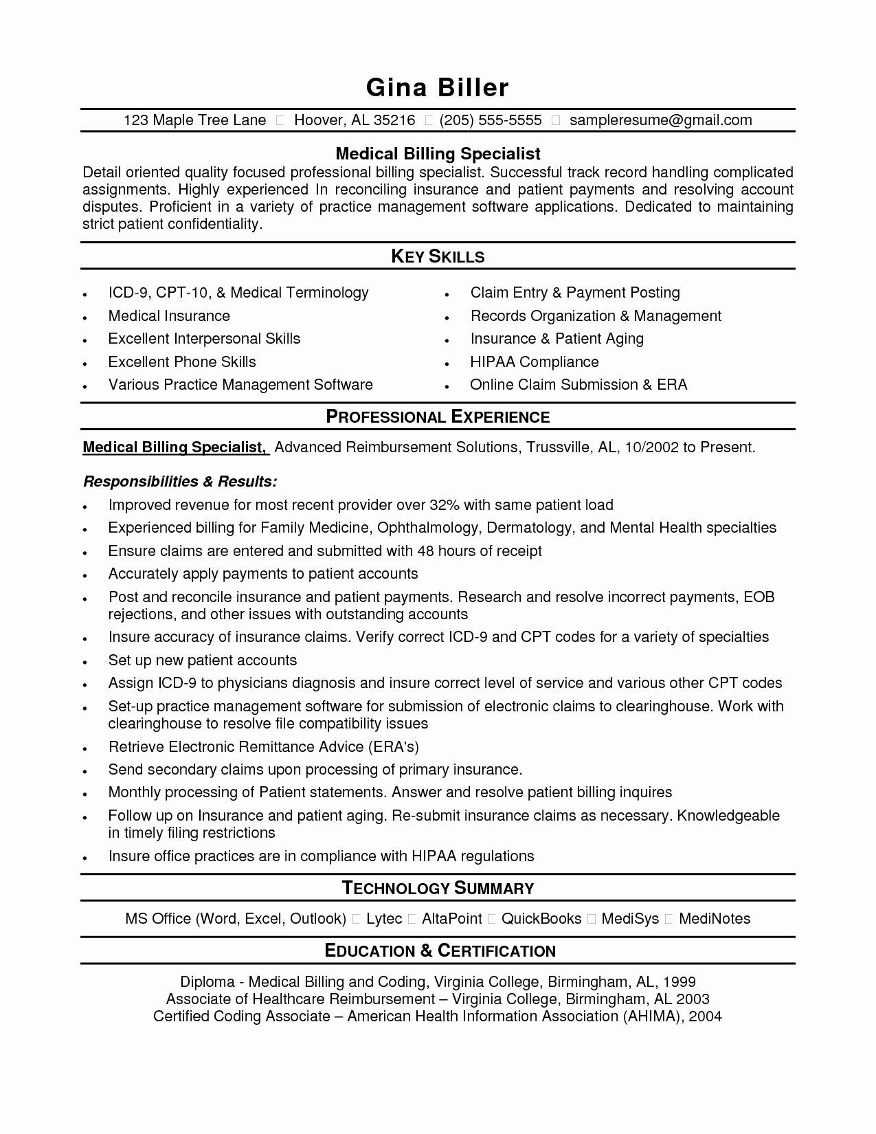 Medical Coder Resume Template - Medical Coding Resume Samples Valid Medical Billing Resume Sample
