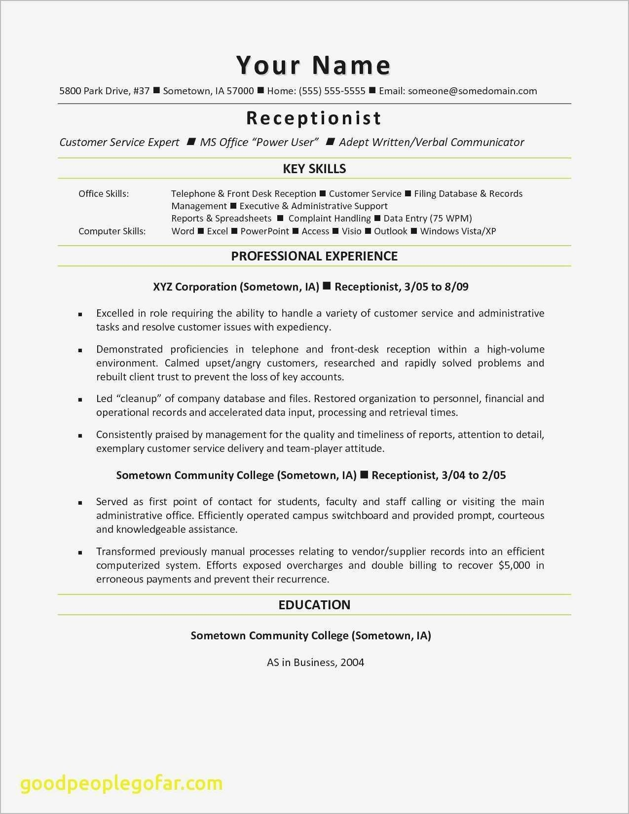 Medical Receptionist Resume Template - Receptionist Resume Objective Examples Save Medical Receptionist