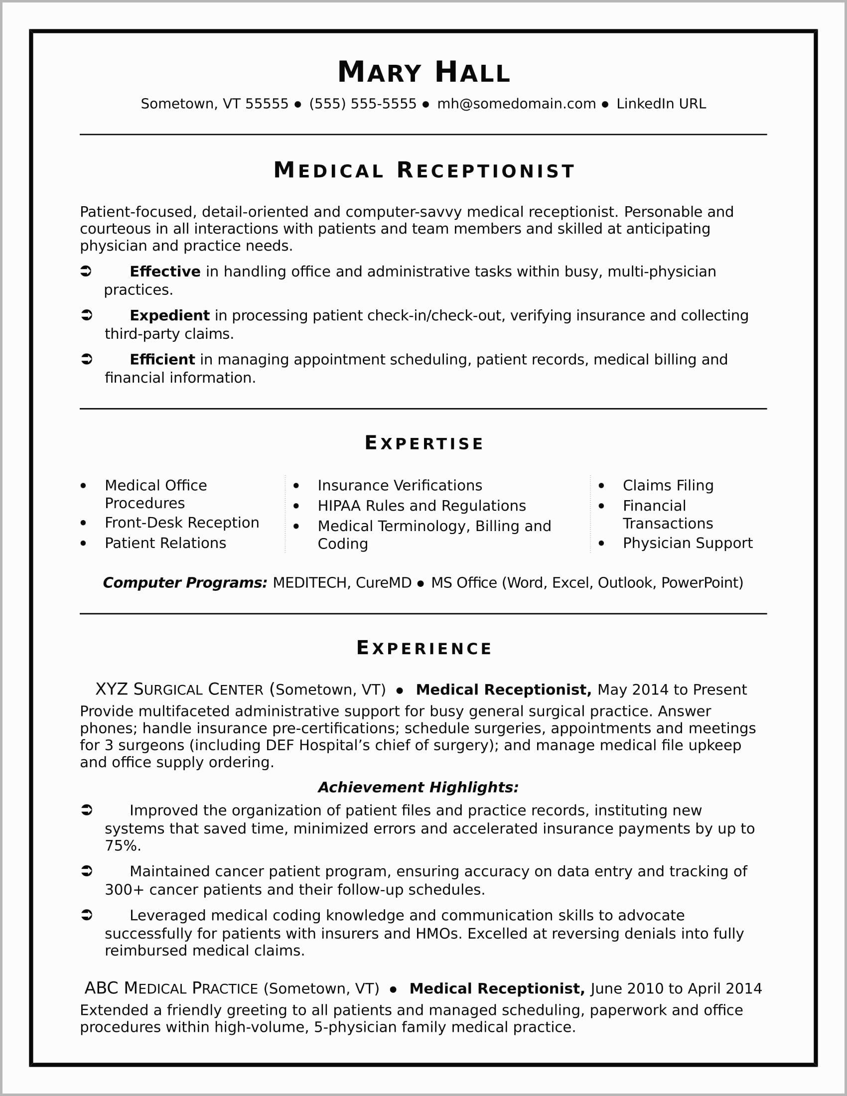 Medical Receptionist Resume Template - Medical Secretary Resume Sample Best Medical Receptionist Resume