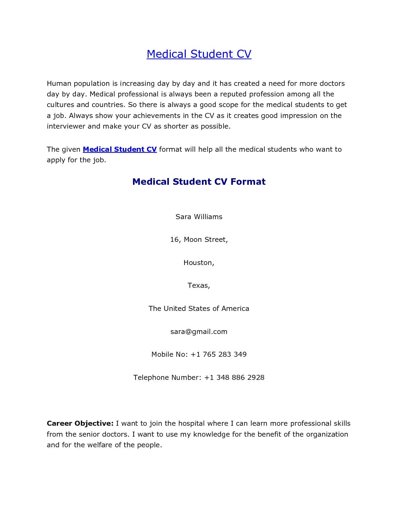 medical student resume template Collection-Medical Student CV Sample 1-p