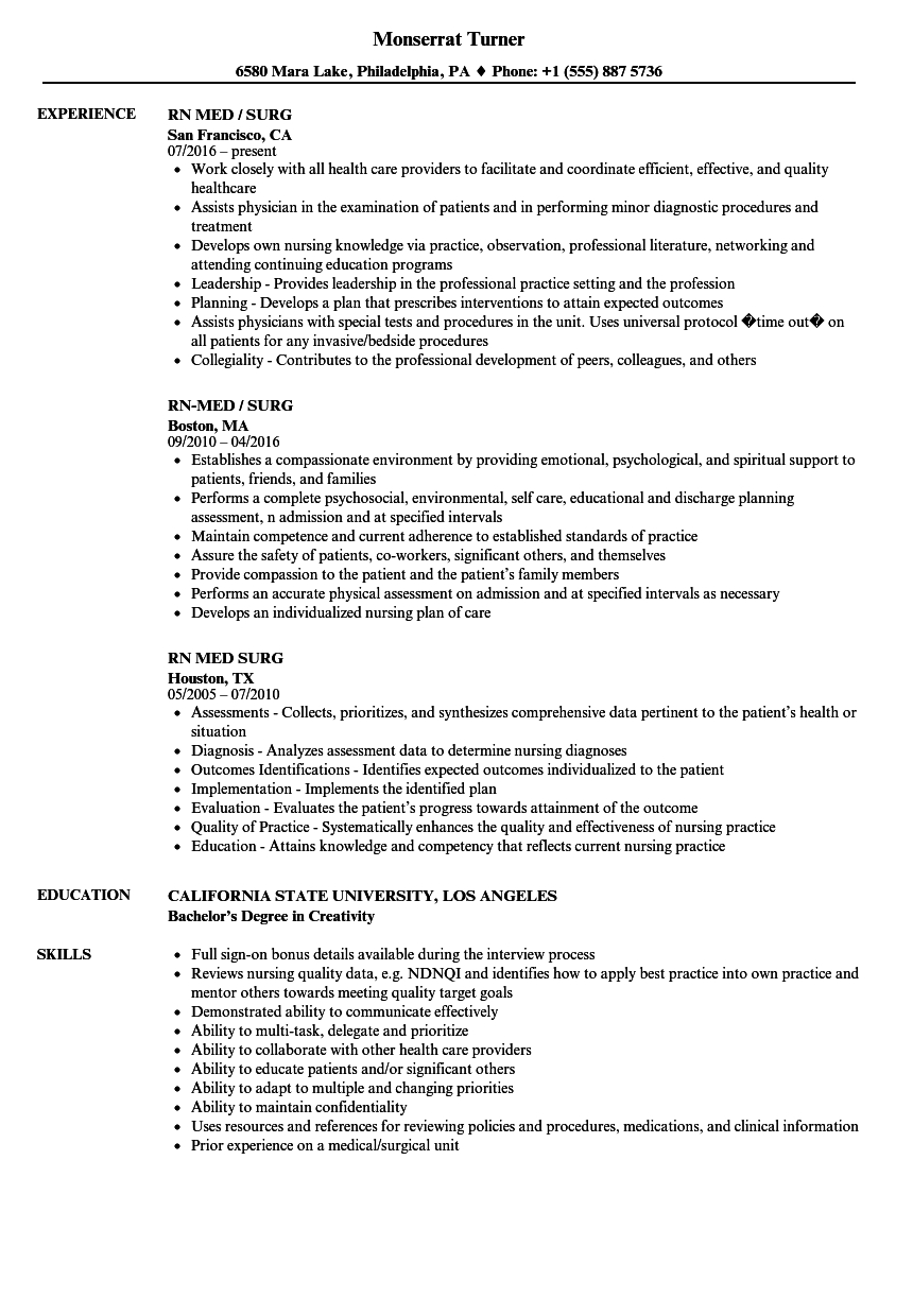 12 medical surgical nurse resume examples
