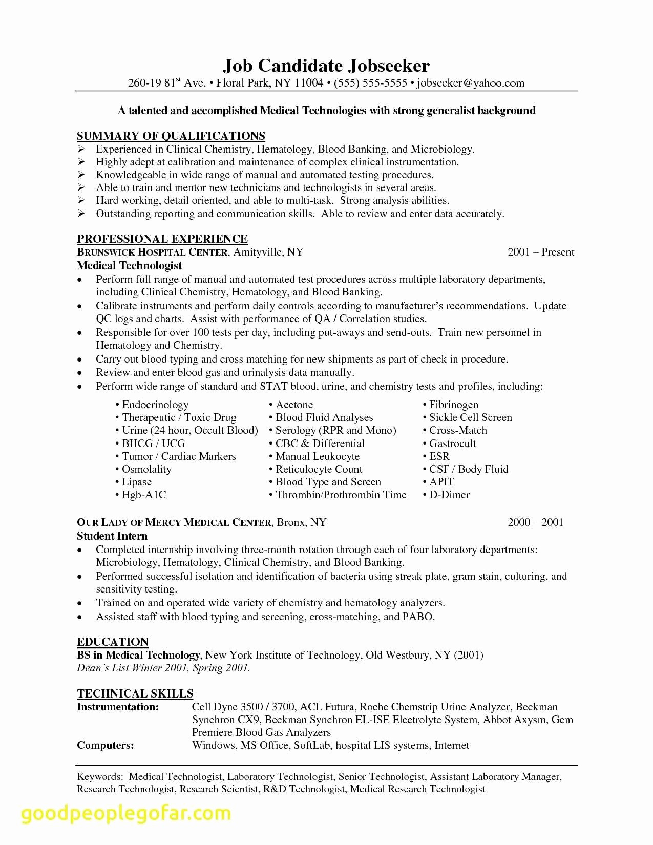 Medical Technologist Resume Template - Radiology Resume Unique Sample Resume for Radiology Nurse at Resume