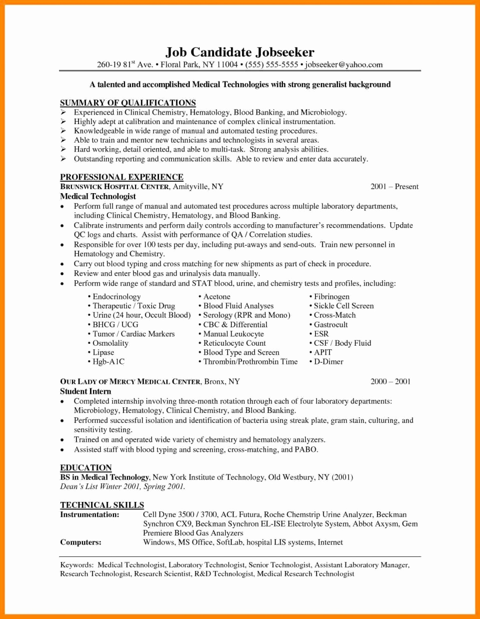 Microbiology Lab Skills Resume - 26 Inspirational Image Lab Tech Resume Sample