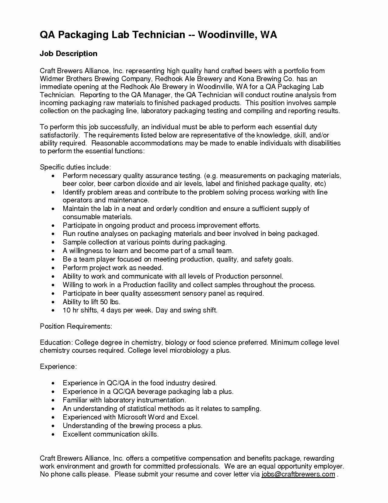 Microbiology Lab Technician Resume - 19 Microbiology Lab assistant Resume