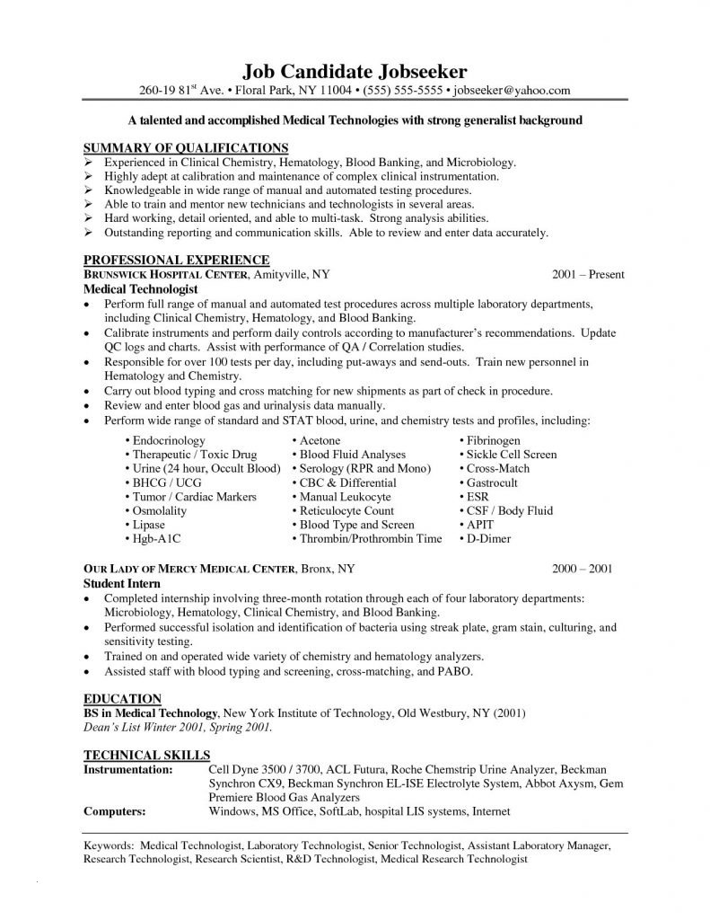 Microbiology Lab Technician Resume - Medical Technician Resume Paragraphrewriter