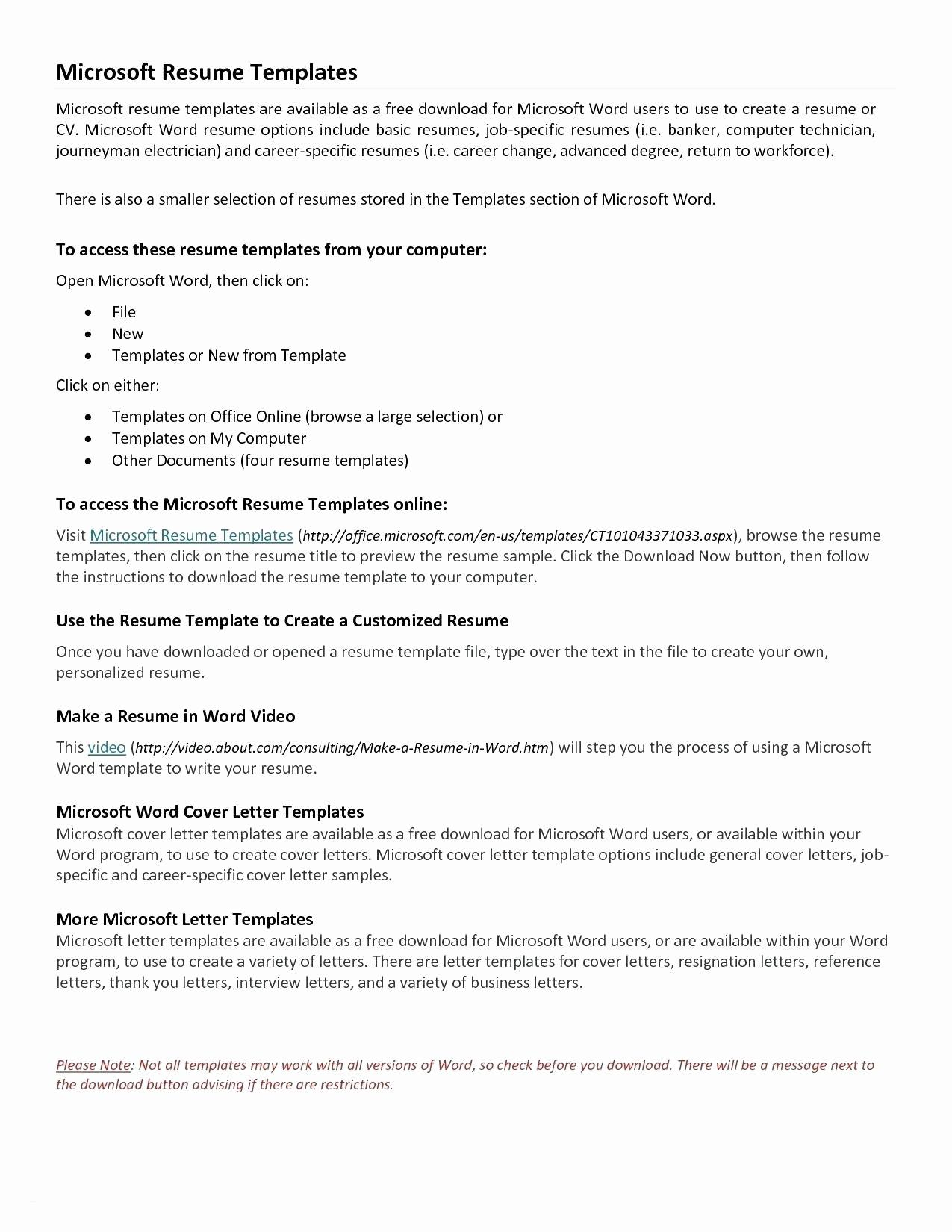Microsoft Word Templates Resume - Free Resume Templates Word Luxury Elegant Microsoft Word Resume