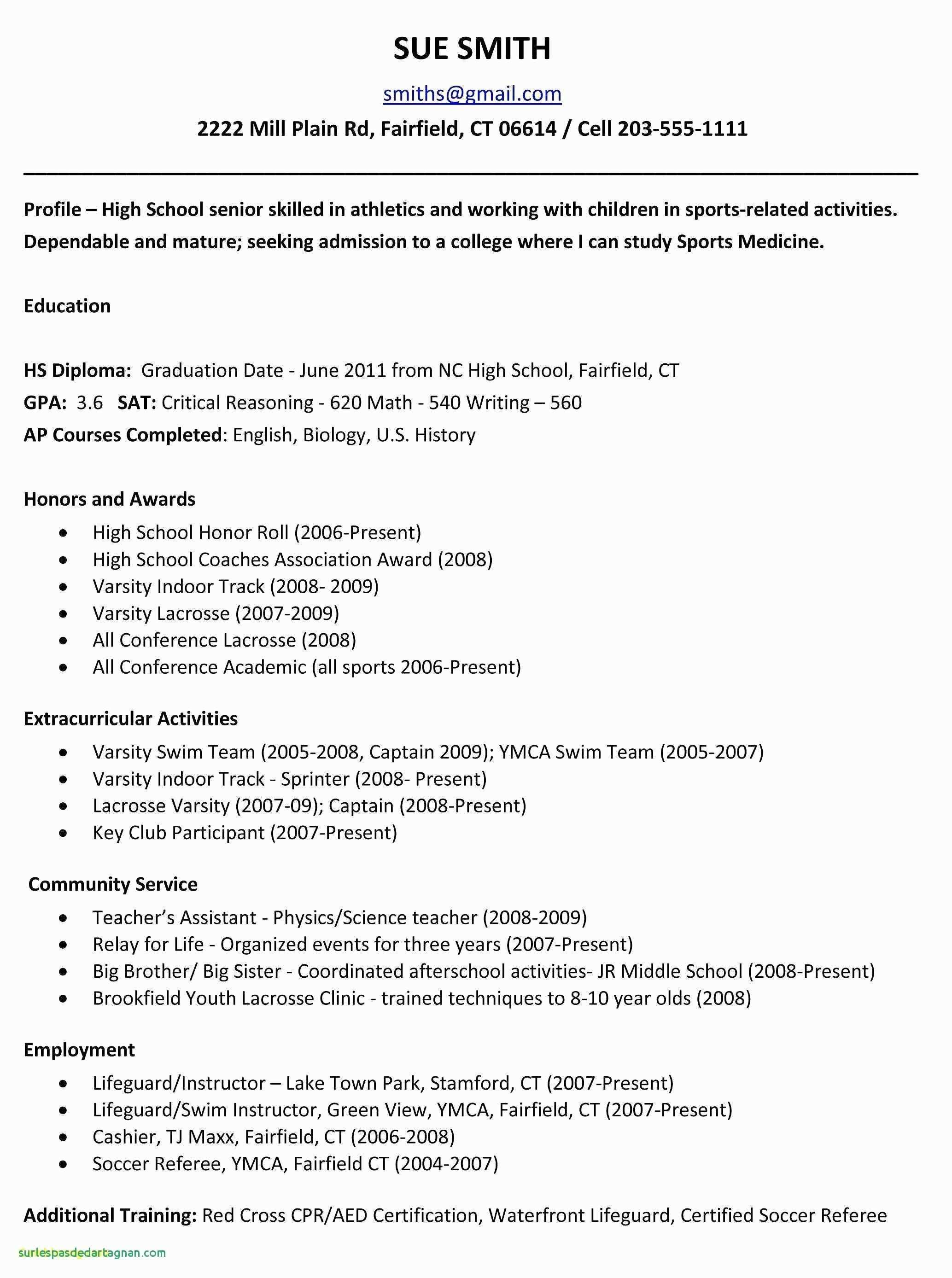 Middle School Resume Template - 39 Awesome College Application Resume Template